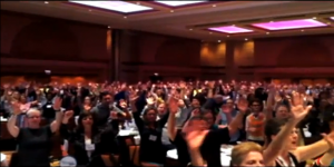 screen grab image from YouTube video of 1,200 participants at NSAC 2012