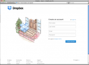 screen shot of Dropbox home page